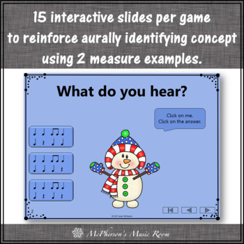 Winter Music Games: Eighth Notes Interactive Rhythm Games {Bundle}