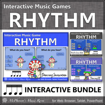 Winter Music Games: Sixteenth Notes Interactive Rhythm Games {Bundle}