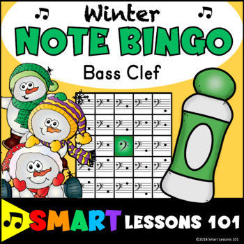 Winter Music Games: Winter Bass Clef Bingo Game: Note Reading Activity Lesson
