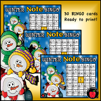 Winter Music Games: Treble Bass Clef Bingo Music Games: Winter Music Activities