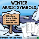 Winter Music Games and Activities: Musical Symbols PowerPoint & Worksheets