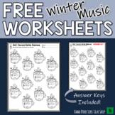 Winter Music Worksheets & Christmas Music Worksheets FREEBIE!