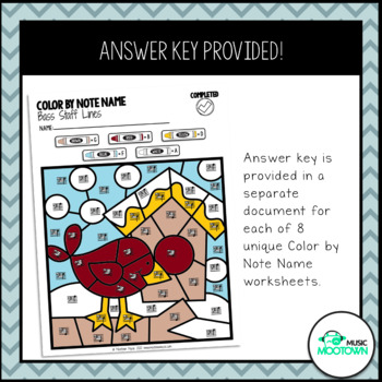 Winter Music Worksheets: Color by Note Name - Bass Staff
