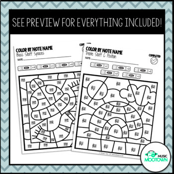 Winter Music Worksheets: Color by Note Name - Bundle