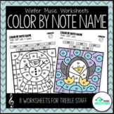 Winter Music Worksheets: Color by Note Name - Treble Staff