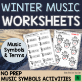Winter Music Worksheets: MUSIC SYMBOLS & TERMS