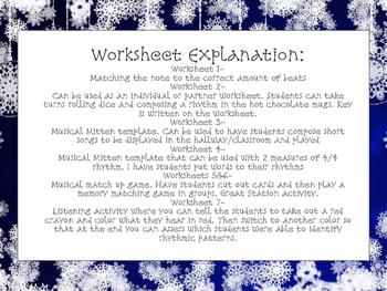 Winter Music Worksheets: Rhythm