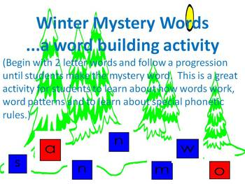 Winter Mystery Words - A word building activity
