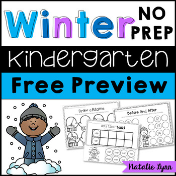 Winter NO PREP Printables for Kindergarten FREE PREVIEW
