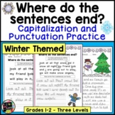 Winter Writing, Punctuation, and Capitalization; Where do the sentences end?