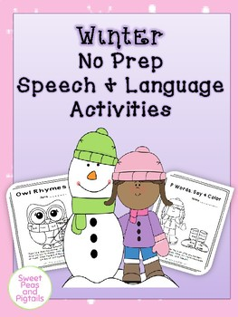 Winter NO PREP Speech & Language Activities