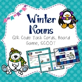 Winter NOUNS QR Code Task Cards, SCOOT, and Board Game