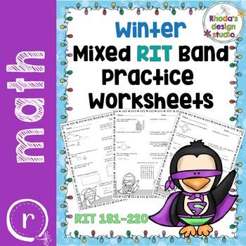 Winter NWEA MAP Test Prep Math  RIT Band 180-220 Superhero Penguin Worksheets