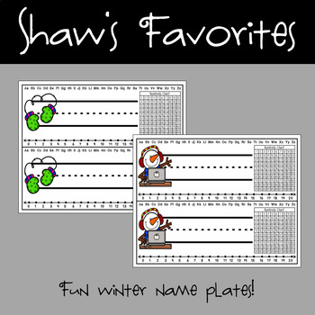 Winter Name Plates {20 Different Ones}