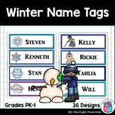 Winter Name Tags - Editable