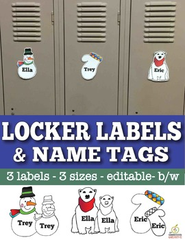 Winter Name Tags and Locker Labels that are Editable