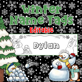 Winter Name Tags Snowman Penguin