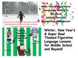 Winter, New Year's & Super Bowl Themed Figurative Language for Middle School