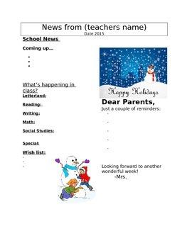 Winter Newsletter Template Teaching Resources Teachers Pay Teachers