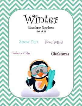 Winter Newsletter Templates - Set of 11