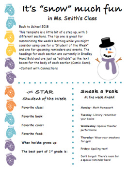 Winter Newsletter with Mittens & A Snowman: 3 Versions Editable