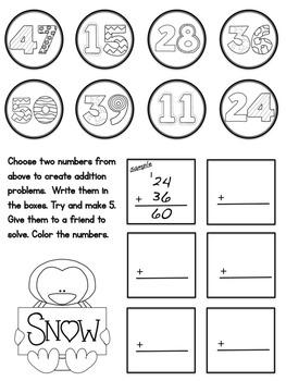 Winter (No Prep) Addition Math Packet