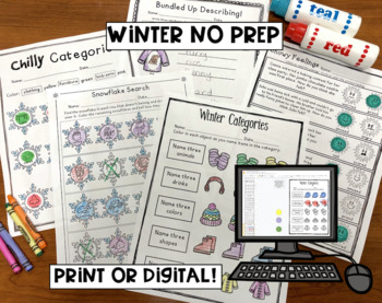 Winter No Prep BUNDLE: Articulation AND Language Activities for Speech Therapy