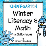 Winter No-Prep Literacy & Math pages for Kindergarten