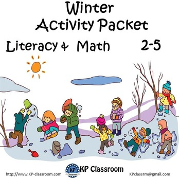Winter No Prep Literacy and Math Activity Packet for 2 3 4 or 5 Worksheets