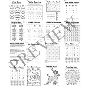 Winter No Prep Literacy and Math Activity Packet for K through 1 Worksheets