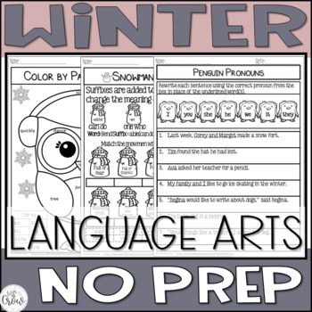 Winter NO PREP Math & ELA BUNDLE