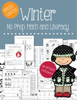 Winter No Prep Math and Literacy Bundle - Kindergarten