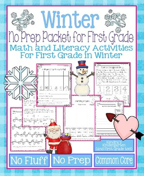 Winter No Prep Math and Literacy Packet for First Grade (Common Core)