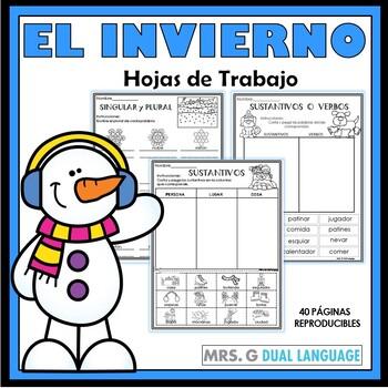 Invierno: Hojas de trabajo. Winter Literacy Packet in Spanish