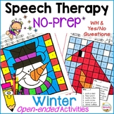 No-Prep Winter Speech Therapy Activities with Yes/No and WH questions
