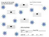 Winter Note Reading Worksheet- Bass clef