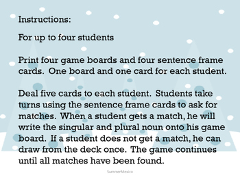 Winter Noun Matching Activity