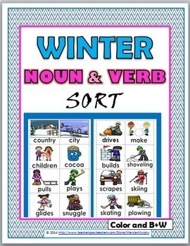 Nouns and Verbs Sort - Winter Theme