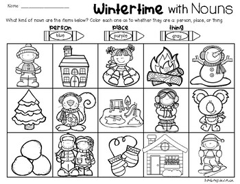 Winter Nouns: Person, Place, Thing (Color the Picture)