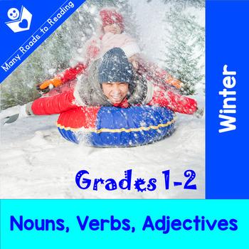 Winter Nouns, Verbs, Adjectives: Grades 1-2