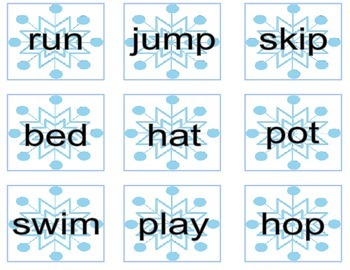 Winter Nouns & Verbs Game- Print, Cut & Ready to Go