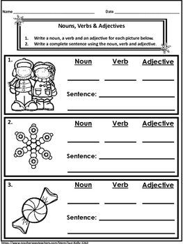 Nouns, Verbs and Adjectives {Winter}