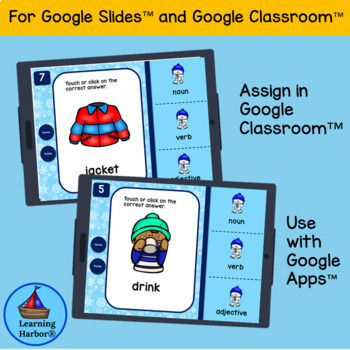 Winter Nouns, Verbs and Adjectives for use with Google Slides­™