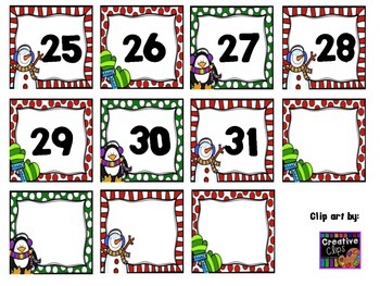 Winter Number Cards for Calendar- Snowman, Mittens, and Penguin
