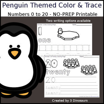 Winter Number Color and Trace Bundle