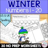 Winter Number Formation and Number Recognition Worksheets 1 - 20