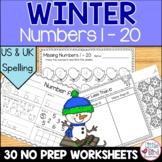 Winter Numbers Worksheets   Number Sense & Counting 1 - 20