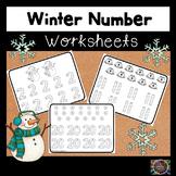 Winter Number Handwriting Worksheets