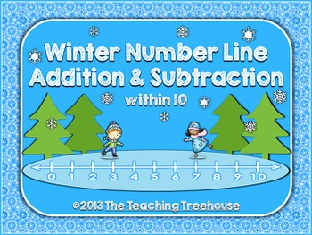 Winter Number Line Addition & Subtraction Within 10
