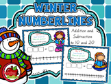 Winter Number Lines - Addition and Subtraction Practise to 10 and 20